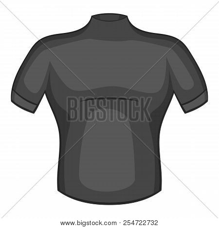 T-shirt For Cyclists Icon. Gray Monochrome Illustration Of T-shirt For Cyclists Icon For Web