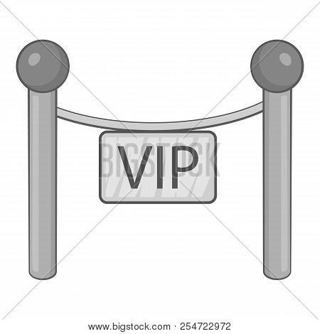 Decorative Poles With Tape For Vip Icon. Gray Monochrome Illustration Of Decorative Poles With Tape