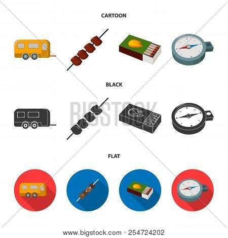 Trailer, Shish Kebab, Matches, Compass. Camping Set Collection Icons In Cartoon, Black, Flat Style V