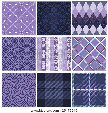 Vector set of nine purple seamless pattern