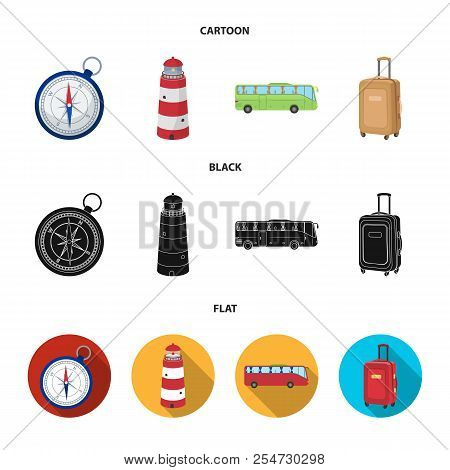 Vacation, Travel, Lighthouse, Compass .rest And Travel Set Collection Icons In Cartoon, Black, Flat