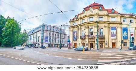 Krakow, Poland - June 11, 2018: Panoramic View On Frontage Of Krakow Philharmonic And Radisson Blu H