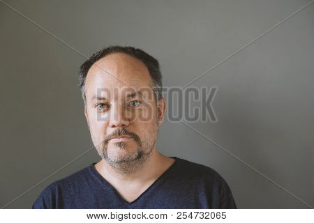 Middle Aged Forty-something Man With Mustache Beard
