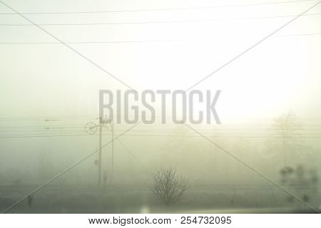 Railway Blurred By The Cold Winter Mist