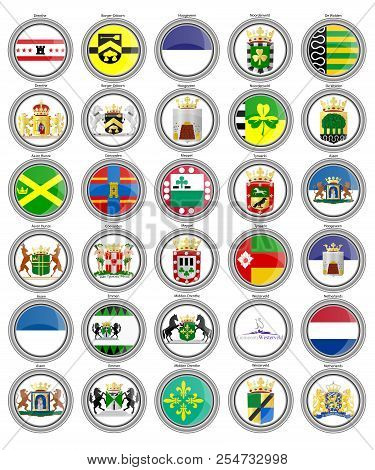Set Of Icons. Flags Of The Netherlands. Municipalities Of The Drenthe Province. 3d. Vector.
