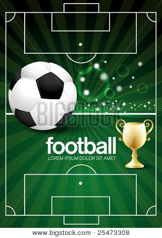 Football poster with champion cup