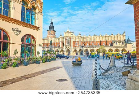 Krakow, Poland - June 11, 2018:  The Beautiful Cloth Hall (sukiennice) Is One Of The Omst Beautiful