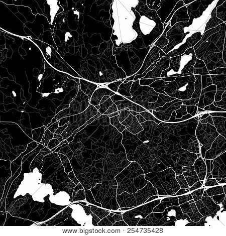 Area Map Of Espoo, Finland. Dark Background Version For Infographic And Marketing Projects. This Map
