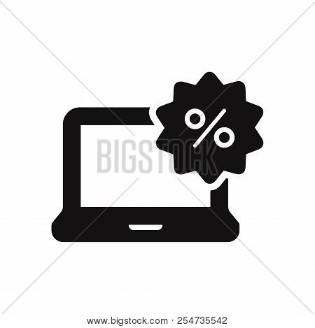 Laptop With Percent Icon Isolated On White Background. Laptop With Percent Icon In Trendy Design Sty