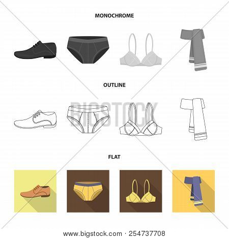 Male Shoes, Bra, Panties, Scarf, Leather. Clothing Set Collection Icons In Flat, Outline, Monochrome