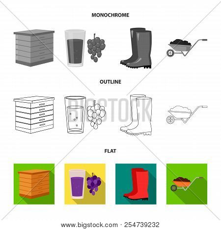Hive, Grapes, Boots, Wheelbarrow.farm Set Collection Icons In Flat, Outline, Monochrome Style Vector