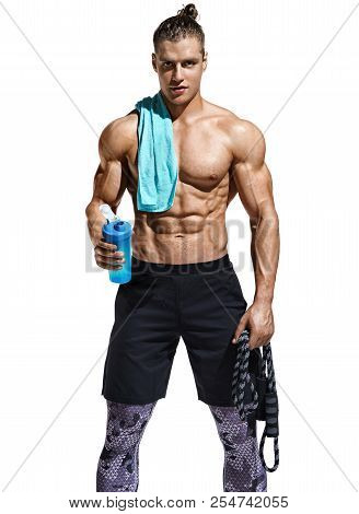 Resting Time. Man With Protein Cocktail In Shaker And Towel On His Shoulder. Photo Of Sporty Man Aft