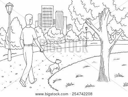 Park Graphic Black White Landscape Sketch Illustration Vector. Man Is Walking With A Dog