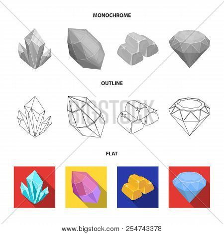 Crystals, Minerals, Gold Bars. Precious Minerals And Jeweler Set Collection Icons In Flat, Outline,