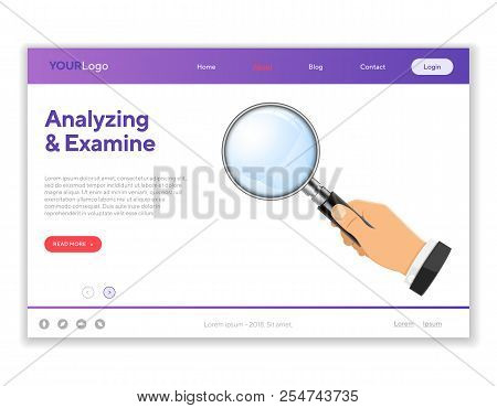 3d Realistic Magnifying Glass Magnifier In Businessman Hand. Analyzing And Examine Concept. Landing