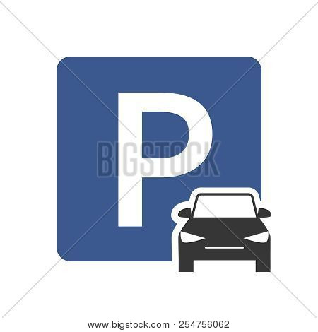 Parking Zone Vector Icon With Car Symbol Top View. Parking Transport Area, Symbol Roadsign For Regul