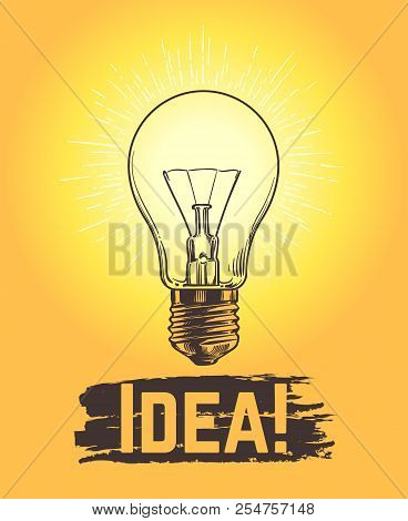 Sketch Light Bulb. New Business And Creative Idea Vector Concept With Hand Drawn Lamp. Illustration