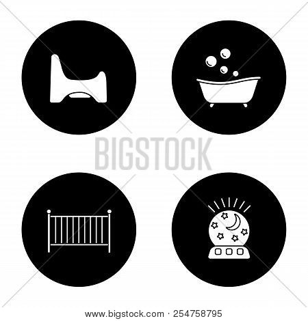 Childcare glyph icons set. Potty chair, bathtub, crib, night light. Vector white silhouettes illustrations in black circles poster