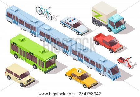 Isometric City Public Transport. Subway Train, Bus, Ambulance, Taxi And Police Car, Truck, Motorcycl