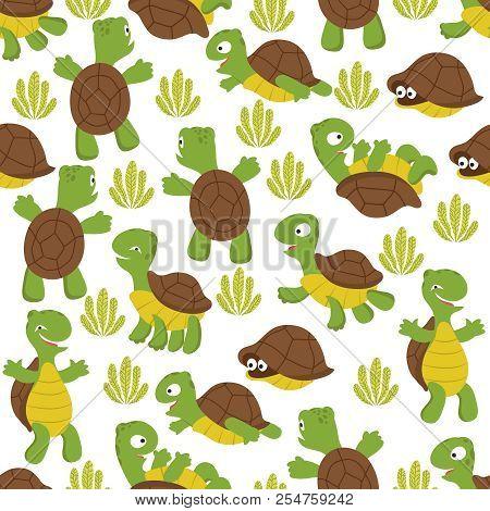 Turtle Seamless Pattern. Wild Cute Tortoise Print Texture For Kids Textile. Wildlife Terrapins Backg