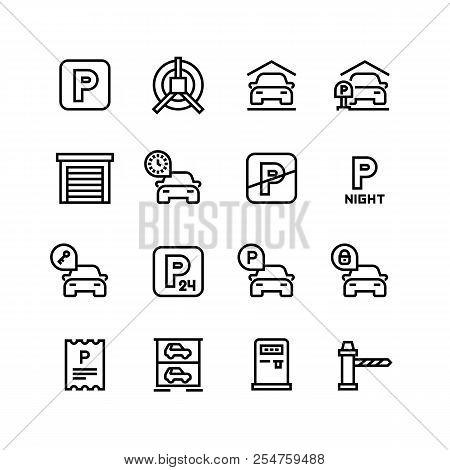 Parking Icons. Car Garage And Parking Line Vector Symbols. Automobile Service Park, Zone Place Parki