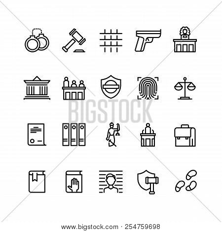 Law And Justice Line Icons. Court, Judge And Lawyer. Criminal Police Vector Online Symbols. Illustra