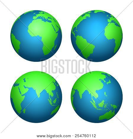 Earth 3d Globe. World Map With Green Continents And Blue Oceans. Vector Isolated Set Of Earth Planet
