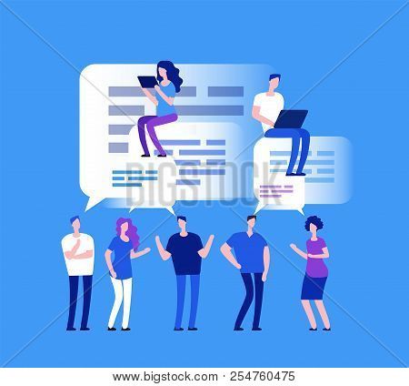 Forum Concept. Business People In Web Chat. Team Comments And Review Vector Concept. Team Chat Commu