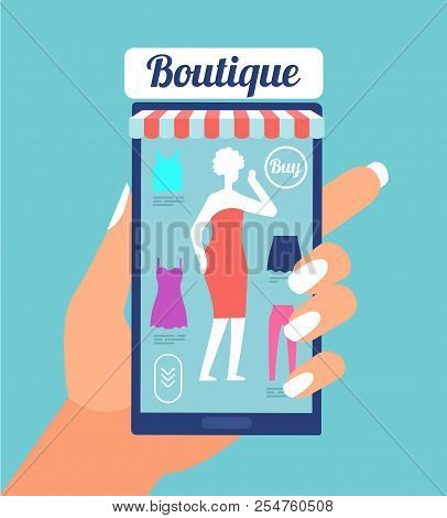 Online Fashion Store. Clothes Shop App On Mobile Phone Screen. Fashion Shopping Mobile Retail Vector