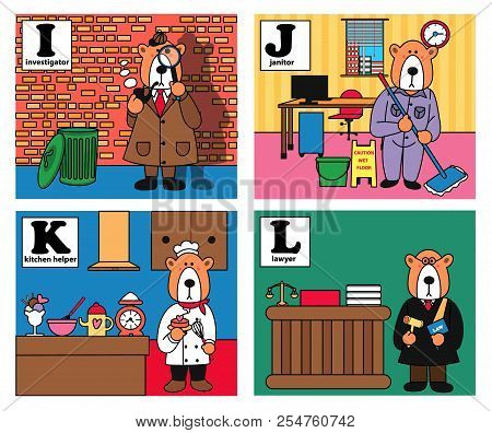 Animal Alphabet, Bear Career Set With Investigator, Janitor, Kitchen Helper, And Lawyer, Illustratio