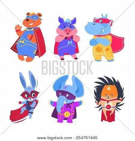 Superhero Animals. Baby Superheroes Vector Characters Set. Illustration Of Animal Protector And Savi