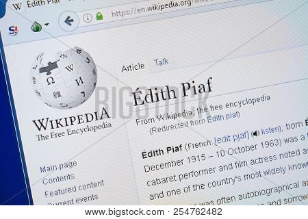 Ryazan, Russia - August 19, 2018: Wikipedia Page About Edith Piaf On The Display Of Pc