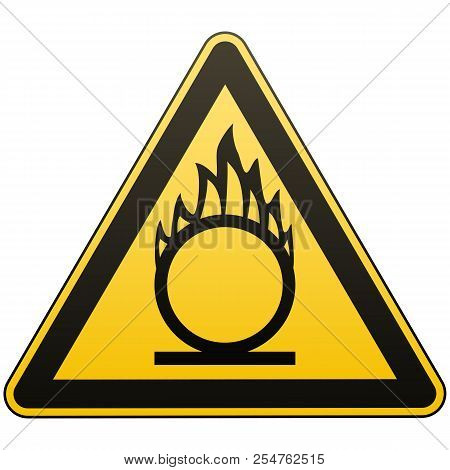 Caution Oxidizer. Safety Sign. Safety At Work. Yellow Triangle With Black Image. Isolated Object. Wh