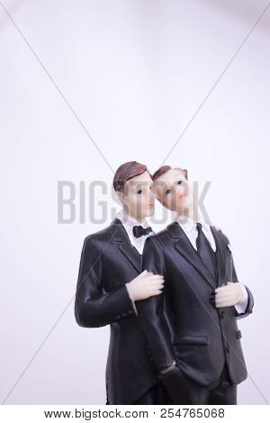 Cake topper gay wedding couple of two male grooms holding romantic marriage embrace of LGBT love. poster