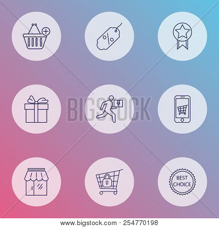 Ecommerce Icons Line Style Set With Delivery Man, Gift, Storefront And Other Sale Tag Elements. Isol
