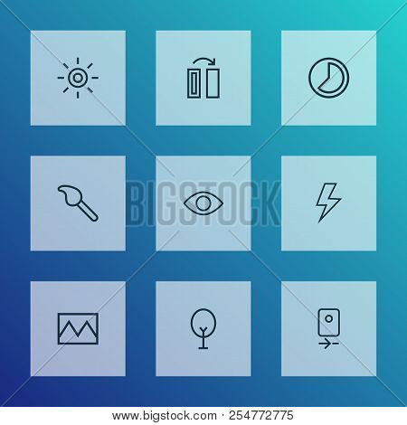 Image Icons Line Style Set With Wb Iridescent, Photo, Turn And Other Broken Image Elements. Isolated