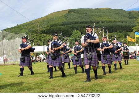 Crieff, Scotland, 21 July 2018: The Badenoch & Strathspey Pipe Band Perform At The Lochearnhead High