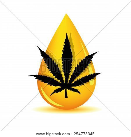Silhouette Medicine Cannabis Oil Drop Vector Illustration Eps10