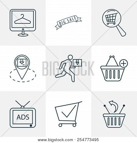 Commerce Icons Line Style Set With Location Pin, Shopping Cart, Advertising And Other Removal Elemen