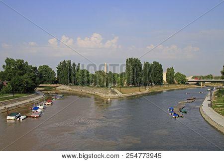 Bank Of The Raba River In Gyor, Hungary