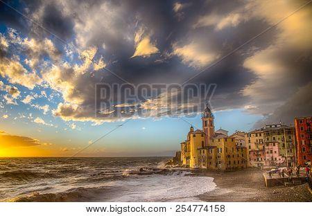 Beautiful Small Mediterranean Town With Rough Sea - Camogli, Genoa, (genova) Italy, Europe