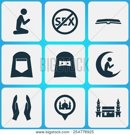 Ramadan Icons Set With Shawl, Scripture, Prayer And Other Man Elements. Isolated Vector Illustration