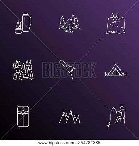 Camping Icons Line Style Set With Sleeping Bag, Forest, Camping And Other Bedroll Elements. Isolated