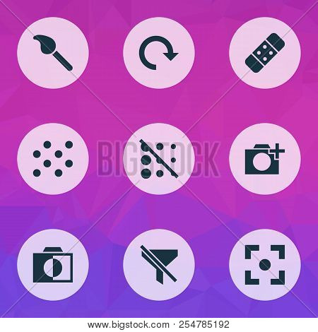 Picture Icons Set With Add A Photo, Brush, Circle And Other Photographing Elements. Isolated Vector