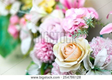 Close Up Many Colorful Flower (rose) For Wedding & Flower Background Or Texture.