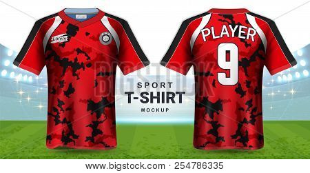Soccer Jersey And Sportswear T-shirt Mockup Template, Realistic Graphic Design Front And Back View F