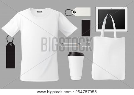 Brand Identity Template Set Business Branding Corporate Mockup Design, T-shirt, Bag, Coffee Cup, Tag