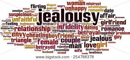 Jealousy Word Cloud Concept. Vector Illustration On White