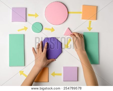 Child Making A Flow Process Model With Paper Blocks. Sequence Of Events Or Actions, Explain Algorith