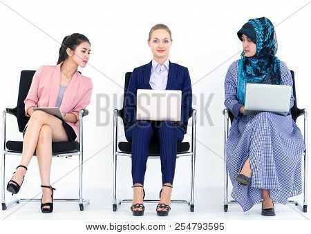 Sneaky Business Woman Is Looking At Other People Computer
